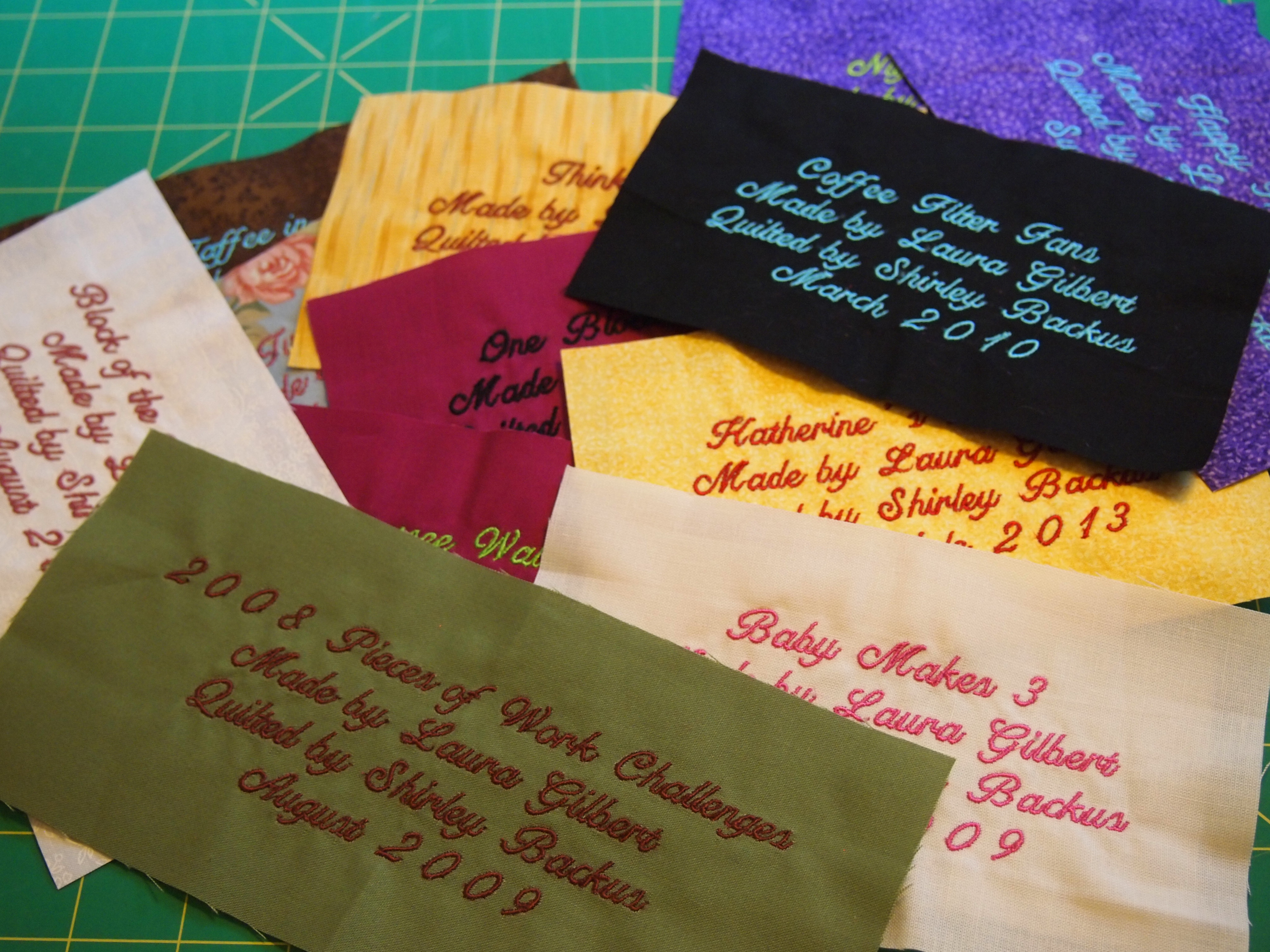 Quilt Labels, Class Samples & Birthing Babies! | If These Threads ... : quilt labels samples - Adamdwight.com