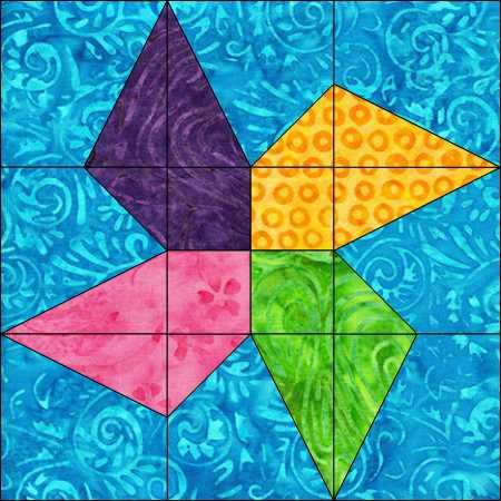 BB10 Twisted Pinwheel Blue Background
